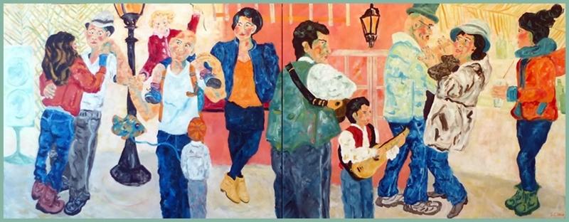 Bild aus dem Zyklus Mein kanarisches Liederbuch: Sylvia Catharina Hess hält hier die Lebensfreude auf La Palma fest, wo allerorten musiziert wird.