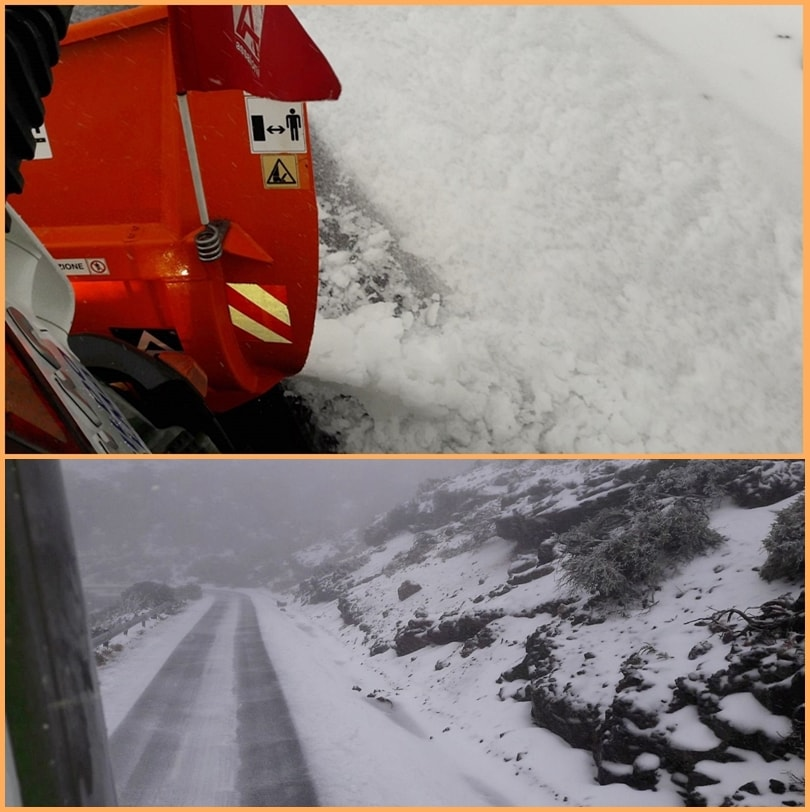 First snow of the year on the Roque. A low pressure area traveled from the Spanish mainland with the Canary Islands, cool temperatures and rain. About 1.800 Meter falls since yesterday's Monday, 29. Januar 2018, Snow. The Cabildo has locked the two LP-4 access roads to the Roque de Los Muchachos. Also on Tuesday, 30. JaJanuarythe Government weather agency AEMET in the Cumbres of La Palma with the alert level yellow warns of snowfalls. On Wednesday, everything should be back in the green area.