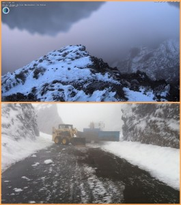 Look at the Caldera on Wednesday morning (Top photo): It will snow more! The image below shows the snow removal vehicles of the Cabildo, tirelessly scratch the ice sheets from the streets.