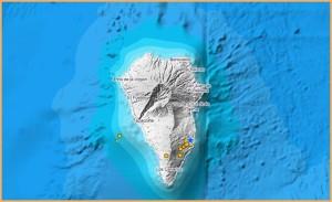 Es rumort wieder tief im Untergrund der Isla Bonita: Seit Samstag ereigneten sich mehrere Schwarmbeben vom Osten über den Süden bis hinauf in den Westen. Grafik: IGN