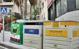 Wertstoff-Container auf La Palma: Insbesondere bei den gelben nimmt die Befüllung endlich zu. Foto: Cabildo