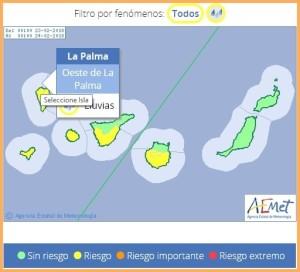 AEMET-Wetterprognose für Freitag: Starkregen auf der Isla Bonita - lang ersehnt vor allem im Westen der Insel.