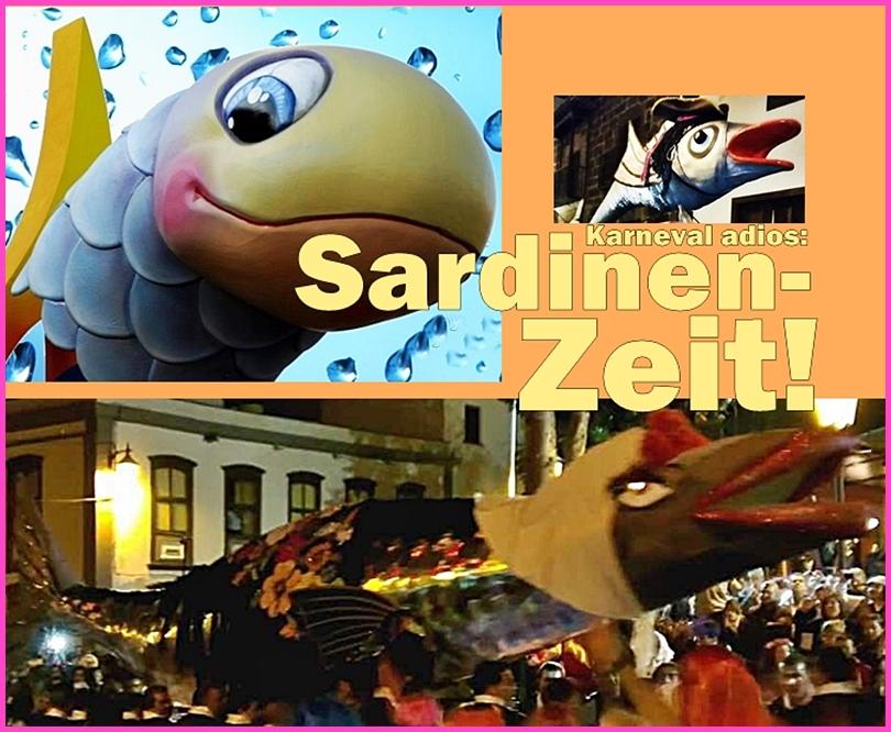 Zum Schluss kommt die Sardine auf den Rost Am Aschermittwoch ist der Karneval in Deutschland vorbei – aber nicht auf La Palma!Carnaval adíos heißt es erst, wenn die Sardine beerdigt ist, und nicht mal immer dann.In einer feierlich-gruseligen Prozession aus schwarzgewandeten Trauergästen und angsteinflößenden Henkersknechten werden die Stoff-und-Pappendeckel-Fischedurch die Ortschaften getragen, wobei es allerdings ziemlich fröhlich zugeht.Höhepunkt ist das Abfackeln der Sardinas - und dann wird natürlichnoch ein bisschen weitergefestet... Die bisher bekannten Sardinen-Terminen 2018 haben wir ebenfalls auf unserer Karnevalsseite zusammengefasst.