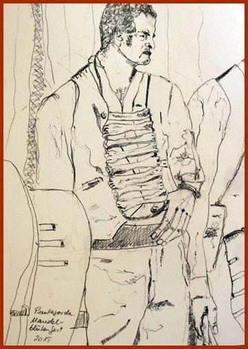 Ein Huesero: Skizze von Harald Braems Ehefrau Sylvia Catharina Hess, die sich als Malerin - auch vieler palmerischer Motive - einen Namen gemacht hat.