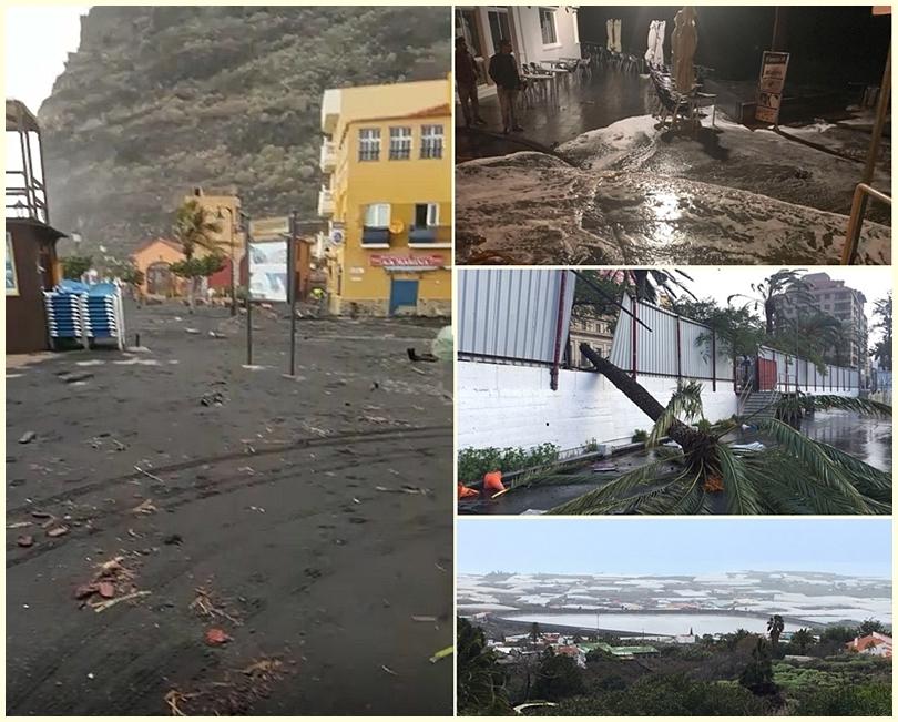 Tief Emma hinterlässt Schäden: Das Foto links zeigt die Avendia von Tazacorte voller Sand und Treibgut. Fotos rechts von oben nach unten: In Puerto Naos schwappt das Wasser auf Teile der Strandpromenade und hinterlässt allerhand Meeresgetier, in Santa Cruz stürzen Bäume um, aber Regen bringt auch Segen