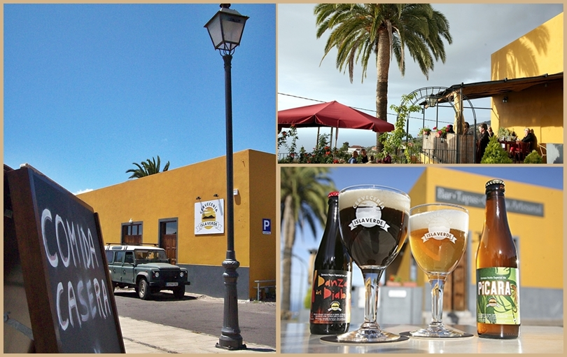 Die Gasthausbrauerei Cervecería Isla Verde: liegt kurz vorm südlichen Ortseingang von Tijarafe. Es gibt einen Gastraum und einen Biergarten!