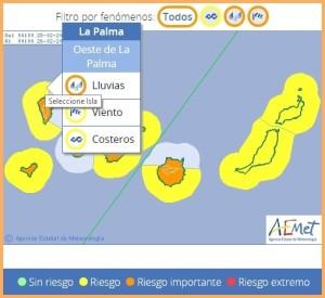 Die AEMET warnt: Auf allen Kanareninseln sind starke Regenfälle, Gewitter, Wind und hohe Wellen im Anmarsch.