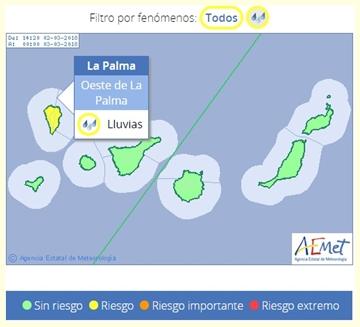 Die AEMET gibt am Freitagmittag wieder Alarm Gelb für Starkregen auf La Palma: Damit rauscht die vierte Unwetterwelle in Serie über die Insel.