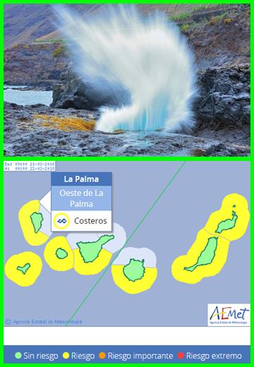 Achtung hohe Brandung: Auf allen Kanareninseln rollen Brecher an. Foto: Facundo Cabrera/Grafik: AEMET