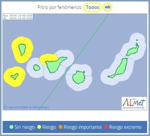 La Palma: Die AEMET warnt mit Gelb vor hoher Brandung.