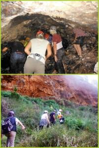 Die Tunnel und die Bergwand der Marcos y Cordero-Wanderung: Helmpflicht, denn in den Tunneln stößt man sich den Kopf und aus der Felswand lösen sich Steine. Fotos: Graja-Tours