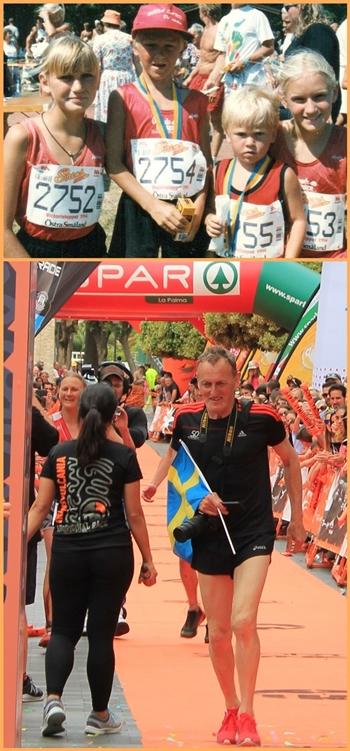 Ida einst und heute: Das Foto oben zeigt sie mit ihren drei Geschwistern bei einem Laufwettbewerb - auf dem Foto unten ist ihr ebenfalls laufbegeisterter Vater zu sehen, wie er - natürlich außer Konkurrenz - mit der Schweden-Flagge durchs Ziel der Transvulcania geht. Fotos: Ida/La Palma 24