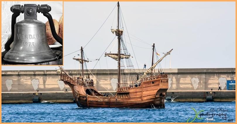 Nachbau des Kolumbus-Schiffes legt auf La Palma an. Am Mittwoch, 25. April 2018, legte ein Nachbau der Santa María, mit der Christoph Kolumbus 1492 seine Reise in die Neue Welt antrat, im Hafen von Santa Cruz de La Palma an – und bleibt hier bis Samstag. An Bord befand sich die Glocke des legenderen palmerischen Segelschiffes La Verdad, das Ende des 19. Jahrhunderts vor den Bermudas sank. Die Glocke kommt nun ins Schifffahrtsmuseum Museo Naval in Santa Cruz - dieses befindet sich auf einem weiteren Nachbau der Santa Maria auf der Plaza Alameda. Empfangen wurde das Schiff im Hafen von Santa Cruz mit 21 Salutschüssen, die aus den antiken Kanonen im Castillo de la Virgen abgefeuert wurden.