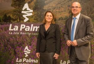 Inseltourismusrätin Alicia Vanoostende und Inselpräsident Anselmo Pestana: