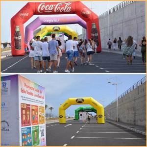 Isla Bonita Love Festival 2018: wieder Werbeflächen: Am Eingang vom Hafen von Tazacorte.