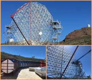 Der erste Spiegel im LST-Prototyp auf dem Roque de Los Muchachos ist montiert. Insgesamt werden nun 198 Spiegel in den Prototyp des neuen MAGICs installiert. Fotos: CTA/Mazin/Inada/