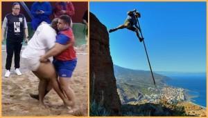 Lucha Canaria und Salto del Pastor: Die beiden Traditionssportarten sind jetzt Kulturgüter der Kanaren. Fotos: Federacion insular de Lucha Canaria La Palma/Facundo Cabrera