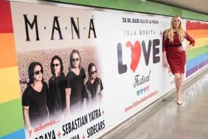 Werbung auf dem Festland: Topacio Fresh unterstützt die Aktion. Foto: Isla Bonita Love Festival