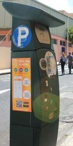 Parkometer in Los Llanos: Oben ist ein Schlitz für den Briefeinwurf zur Multa-Entschärfung. Foto: La Palma 24