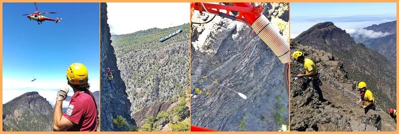 Heli-Flüge über La Palma. Am vergangenen Freitag sah und hörte man öfter mal den Helikopter der Grupo de Emergencias y Salvamento (GES) über die Insel fliegen - allerdings war dies kein Notfall-Einsatz. Wie das Kanarenministerium für Territorialpolitik, Nachhaltigkeit und Sicherheit mitteilte, war eine Übung im Gange: In der Caldera de Taburiente wurde die Rettung eines Verunglückten in den Bergen simuliert, an der auch Freiwillige der AEA und Personal aus dem Nationalpark beteililgt waren. Fotos: Ministerium