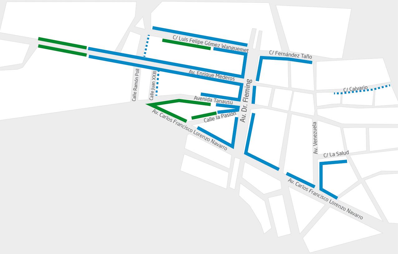 Los Llanos: grüne und blaue Zonen in der City. Karte: Stadt