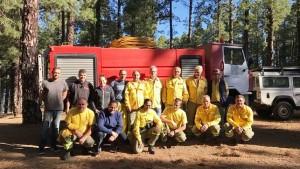 Freiwillige Fire-Fighter aus Tijarafe: Noch ist die Waldbrandgefahr nicht extrem, aber alle bereiten sich auf mögliche Ernstfälle vor. Foto: Tijarafe