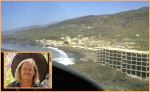 Dieses Foto zeigt das Gerippe des niemals fertiggestellten ersten Hotels in Puerto Naos: