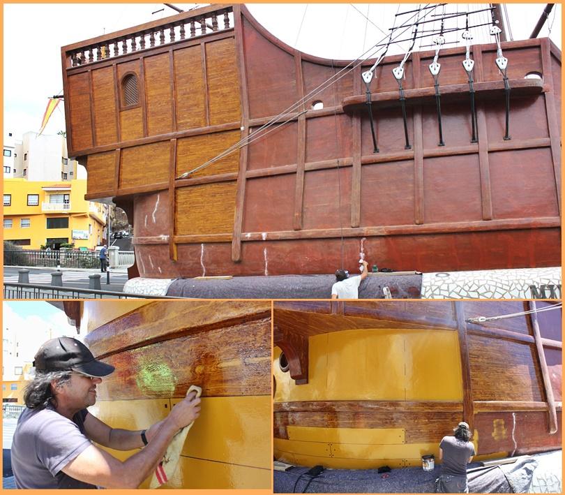 Die Santa Maria bekommt ein neues Kleid. Seit der vergangenen Woche kann man auf der Plaza Alameda in Santa Cruz beobachten, wie der Nachbau des Schiffes renoviert wird, mit dem Christoph Kolumbus 1492 auf den Kanaren über den großen Teich in Richtung Amerika gestartet ist. Die Barco de la Virgen wurde zur Bajada 1940 auf dem Platz im Norden der Hauptstadt von La Palma errichtet, und in ihrem Inneren birgt sie das Museo Naval. Über diesen Link kann man einen Blick in den Bauch der Santa Maria und die Schätze des Schifffahrtsmuseums werfen. http://museonavallapalma.es/