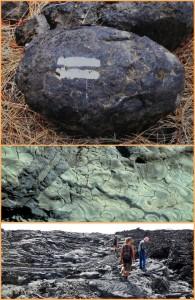 Von oben nach unten: Eine vulkanische Bombe, Pillow