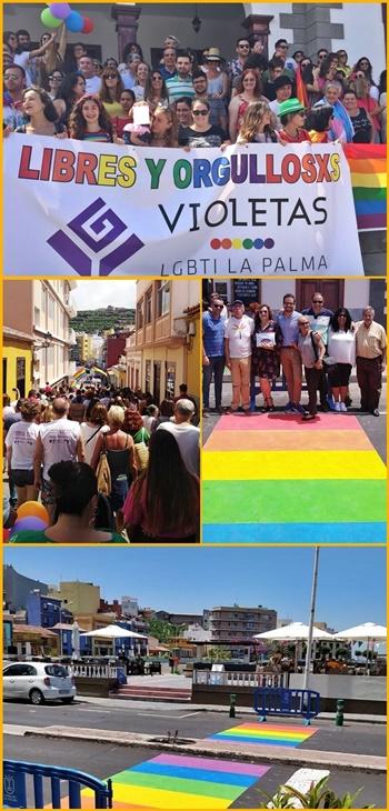 Das LGTBI*-Kollektiv schrieb in Tazacorte Geschichte: Erster Stolzmarsch auf La Palma. Fotos: Gemeinde