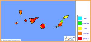 Waldbrandrisio-Karte der AEMET: sehr hohe bis extreme Gefahr auf La Palma.