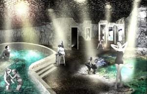 Modell des Thermalbads an der Fuente Santa im Süden von La Palma: Um das ehrgeizige Projekt zu realisieren, müssen als erstes die Bestimmungen im Naturschutzgebiet Teneguía geändert werden. Das Cabildo hat jetzt die erste Teilrevision zur öffentlichen Einsicht vorgelegt.