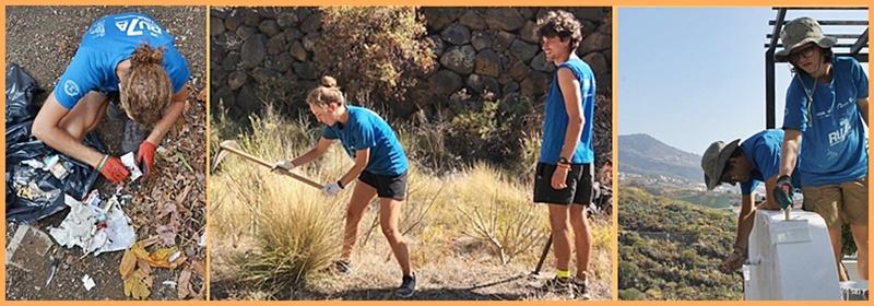 Projekt Ruta 7 auf La Palma. 45 Universitäten in ganz Spanien und Südamerika haben das Proyecto Ruta 7 ins Leben gerufen, wobei Studenten über die sieben Inseln des Kanarenarchipels reisen. Dabei machen sie allerdings keine Ferien, sondern arbeiten in Sachen Umwelt: Als sie jetzt fünf Tage auf La Palma waren, haben sie Gärten von Unkraut befreit, Abfall in der Landschaft aufgesammelt, Mauern von öffentlichen Einrichtungen gestrichen und sind dem hier nicht heimischen und deshalb gefährlichen Lampenputzergras Rabo de Gato zu Leibe gerückt. Wie die Bilder oben zeigen, waren sie mit Feuereifer und einem Lächeln dabei - Respekt! Foto: Santa Cruz