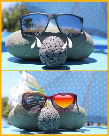 Schlecht: Sonnenbrille mit blauen Gläsern (oben). Gut: Sonnenbrillen mit grauen Gläsern haben ein Herz für Ihre Augen. Fotos: La Palma 24