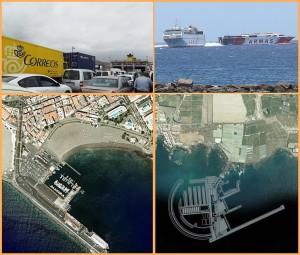 Los Cristianos: Der Südhafen von Teneriffa (Fotos 1,2 und 3 von oben) ist sehr stark von den Fähren aus La Palma, La Gomera und El Hierro frequentiert und zu gewissen Zeiten völlig überlastet. Als Alternative gibt es das Projekt eines Hafe