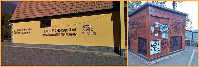 """Immer wieder Vandalismus. Es sind immer die gleichen Parolen, aber die Standorte der Schmierereien wechseln: Vorige Woche wurde der Kiosko am Mirador de La Cumbrecita besprüht, jetzt war die Eremitage San Martín de Porres am südlichen Rand der Caldera an der Reihe. Die Sprayer outen sich als Umweltschützer, denn sie fordern """"Stop dem Klimawandel"""" oder """"Ja zu erneuerbaren Energien"""". Allerdings dürfte die Vorgehensweise der Vandelen der guten Sache nicht dienen, sondern eher kontraproduktiv sein."""