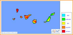 Waldbrandrisiko: Auf La Palma derzeit im dunkelroten Extrembereich! Grafik: AEMET