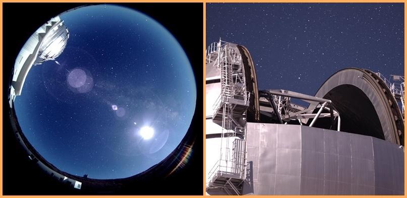 Neue Kameras im GTC. Im Gran Telescopio de Canarias (GTC) auf dem Roque de Los Muchachos gehen zwei neue Kameras in Betrieb. Die eine garantiert mittels einer 360-Grad-Fischaugenlinse eine vollständige Sicht auf den Nachhimmel. Dank ihr können Wetterveränderungen beobachtet werden, um einen sicherern Betrieb des aktuell größten Spiegelteleskops der Welt zu gewährleisten. Darüber hinaus kann dieses Auge ins All Spuren von Meteoren als Basis zur Berechnung ihrer Flugbahnen aufzeichnen. Die zweite neue Kamera wird im Sekundärspiegel des Teles installiert und liefert ein ständiges astronomisches Bild vom Zielfeld mit einem Blickwinkel von 25 x 17 Grad. Nach Angaben des GTC sollen Bilder der beiden Kameras über das Programm der spanischen Wissenschafts- und Technologiestiftung Fundación Española para la Ciencia y Tecnología (FECYT) namens Open doors to the largest telescope in the world künftig im Internet öffentlich zugänglich gemacht werden. Es gibt darüber noch keine Details, wir berichten weiter.