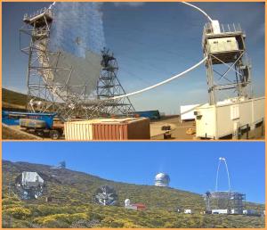 So sieht es aktuell auf der Baustelle auf dem Roque de Los Muchachos aus: Die Reflektoren am LST sind montiert, und das riesige Tele überragt seine Vorgänger, die beiden MAGICS (links im Bild). Fotos: Webcam CTA