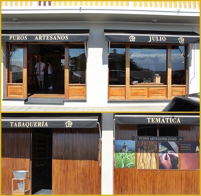 Puros Artesanos Julio: Das rechte Foto zeigt das Geschäft von außen, das linke das daneben befindliche Lager. Wer sich die kunsthandwerkliche Herstellung der Puros Palmeros anschauen will, findet die Manufaktur so: Auf der Hauptstraße von San Pedro aus Richtung Süden kommend gleich nach dem Zigarrenmuseum links abbiegen und sofort wieder rechts hinein in die kleine Calle Cabaiguán. Auf den Lageplan oben klicken, dann kann man es sich besser vorstellen. Fotos: La Palma 24