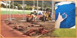 Miraflores-Stadion: Der neue, blaue Bahnbelag soll zehn Jahre halten! Foto: Stadt