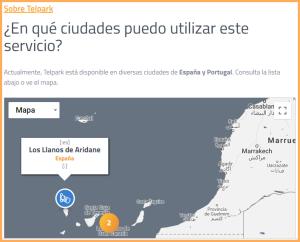 Karte auf der Telpark-Website: Übersicht über die angeschlossenen Städte.