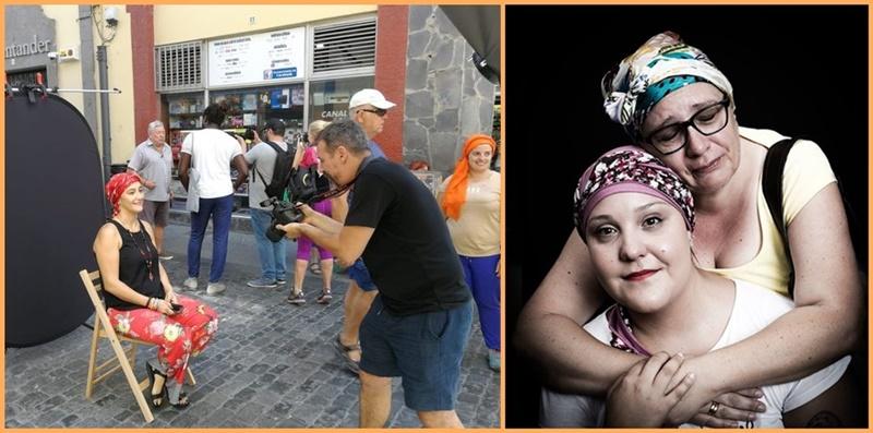"""Porträt-Aktion zum Thema Brustkrebs ein voller Erfolg. """"Mehr Menschlichkeit ist das, was wir brauchen, und wenn meine Porträts dazu beitragen, ist dies schon ein Pluspunkt im Blick auf diese Krankheit."""" Mit diesen Worten kommentiert der Fotograf Emilio Barrionuevo die Aktion zur Solidarität mit an Brustkrebs erkrankten Frauen am vergangenen Samstag in der Fußgängerzone von Santa Cruz de La Palma. Dabei ließen sich zahlreiche Menschen mit einem Kopftuch von dem international hochgelobten Kamerakünstler porträtieren. Der Fotograf ist sicher, dass die so demonstrierte Empathie allen betroffenen Frauen helfe, mit ihrer Krankheit umzugehen. Außerdem transportiere die Aktion, dass Brustkrebs geheilt werden könne. Emilio Barrionuevo: """"Ich hoffe, dass dies eine bahnbrechende Arbeit wird, um noch mehr solch wunderbaren Projekte durchzuführen."""" Die Idee für die Kopftuch-Porträts hatten die Asociación Cáncer de Mama de Tenerife (ÁMATE) und die Organisation Karmala Cultura."""