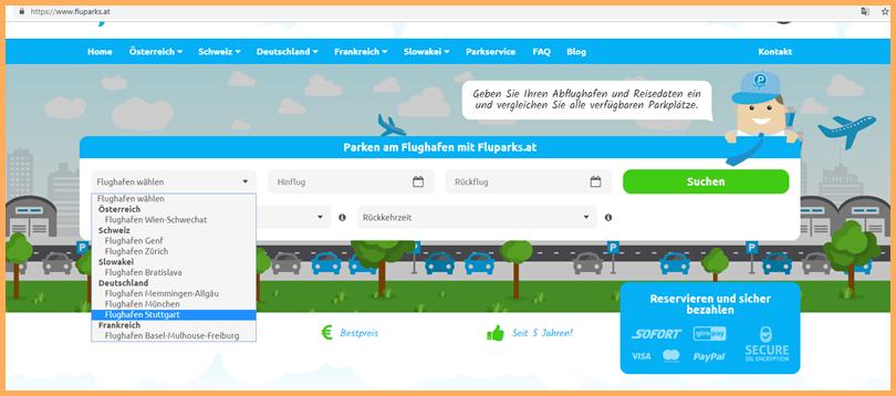 Fluparks-Website: Abflughafen und Reisedatum eingeben, dann sieht man die verfügbaren Parkplätze.