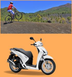 Der/die JahresgewinnerIn kann zwischen einem Tag E-Bike-Fahren oder einer Tour mit dem Honda-Roller von La Palma 24 wählen. Es gibt jeweils zwei Gefährte, damit ein(e) PartnerIn mitfahren kann.