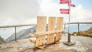 Edelweiss: Bänke auf Gipfeln in der Schweiz.
