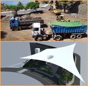 Gegenwart und Zukunft: Auf dem Parkplatz wird jetzt gebaut - das Modell zeigt, wie das Multifunktionszentrum aussehen wird.