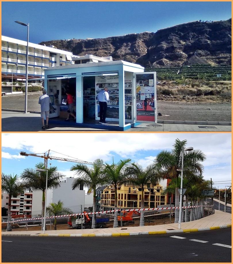 Puerto Naos: i-Punkt verlegt. Der Container mit dem Tourismusbüro, der bisher auf dem Parkplatz am Eingang von Puerto Naos stand, wurde verlegt: Inselgäste finden den i-Punkt jetzt an der Strandpromenade kurz nach dem südlichen Ortsende Richtung Hotel Sol. Grund dafür ist, dass auf dem Parkplatz nun die neue Busstation gebaut wird. Fotos: Thomas Pabst/Fotogroup Puerto Naos