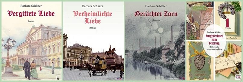 Die vier jüngsten Werke von Barbara Schlüter: Alle sind im Schardt-Verlag erschienen und auch auf La Palma erhältlich.