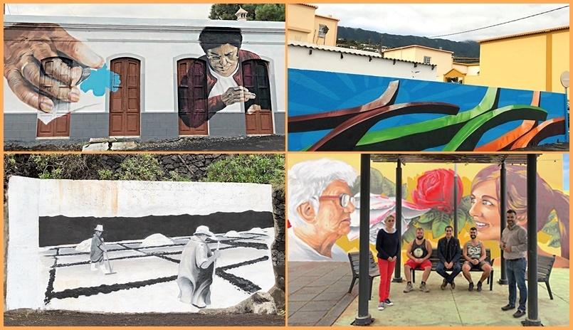 """Spaziergang mit Bildern. Eine ausgefallene Idee hat jetzt Breña Baja in die Tat umgesetzt: Der Künstler Erik Air wurde beauftragt, auf vier Häusern in verschiedenen Bereichen der Gemeinde mit historischen Motiven zu bemalen. Auf diese Art erfahren vorbeispazierende Touristen und Residenten etwas von der Geschichte des Ortes im Osten von La Palma. Die erste """"Kunst am Bau"""" findet sich auf dem Schulgebäude an der Plaza de la Polvacera und soll die Mütter ehren. Das zweite Gemälde findet sich am Küstenweg von Los Cancajos an den Alten Salinen und erinnert an den Beruf des Salzgärtners. Das dritte Bild im Ortsteil San José auf einer Fassade an der Kreuzung der LP-206 und der Avenida Gumersindo Galván ist dem Kunsthandwerk Nähen gewidmet. Das vierte Werk von Erik Air findet sich in San Antonio auf einer Mauer in der Calle El Mocanal: Es zeigt das Milleniumskreuz, das seit 2001 die Montana de la Brena krönt. Die Initiative soll in den kommenden Jahren durch weitere Wandbilder ergänzt werden. Fotos: Gemeinde"""